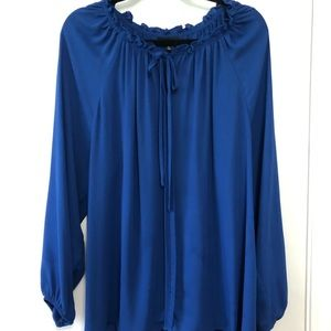 Royal Blue Blouse with Neck Detail
